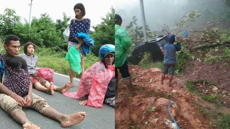 Ngerinya Jalan yang Menganga Akibat Hujan Lebat Sepanjang Hari di Manggarai Barat