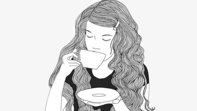 Ilustrasi perempuan menyeruput kopi