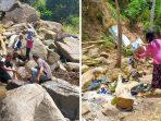 Bersama Warga dan Pengunjung, Bhabinkamtibmas Bersihkan Area Air Terjun